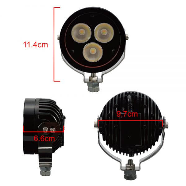 size dimension of 30 W E mark light with led auxiliary lights