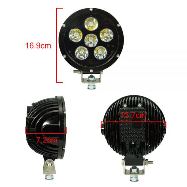 Size dimension of 60 W auxiliary light led with E mark certification