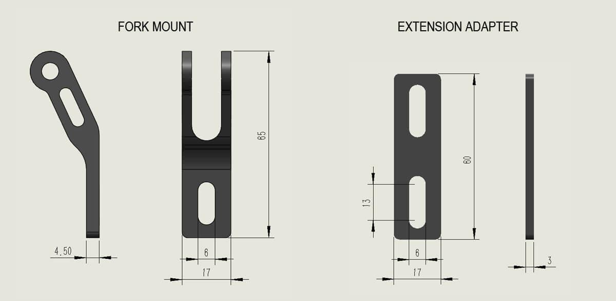 Fork Mount Bike Headlight Bracket (Premium Type A)) size