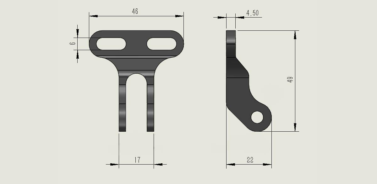 Bike Headlight Bracket (Type B) size