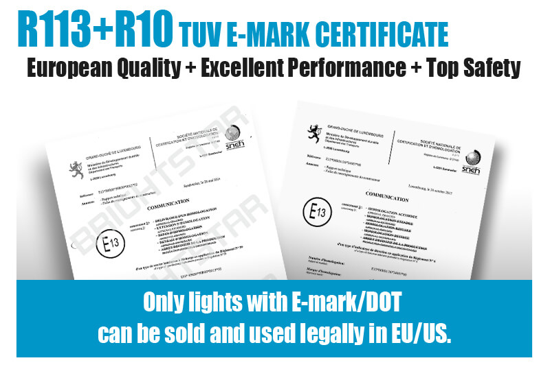 led driving ligth with R113+R10 TUV E-mark certificate, top safety, performance and quality