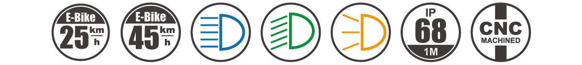 Electric Bike Headlight 3 In 1 E-mark DARKBUSTER E2 icon