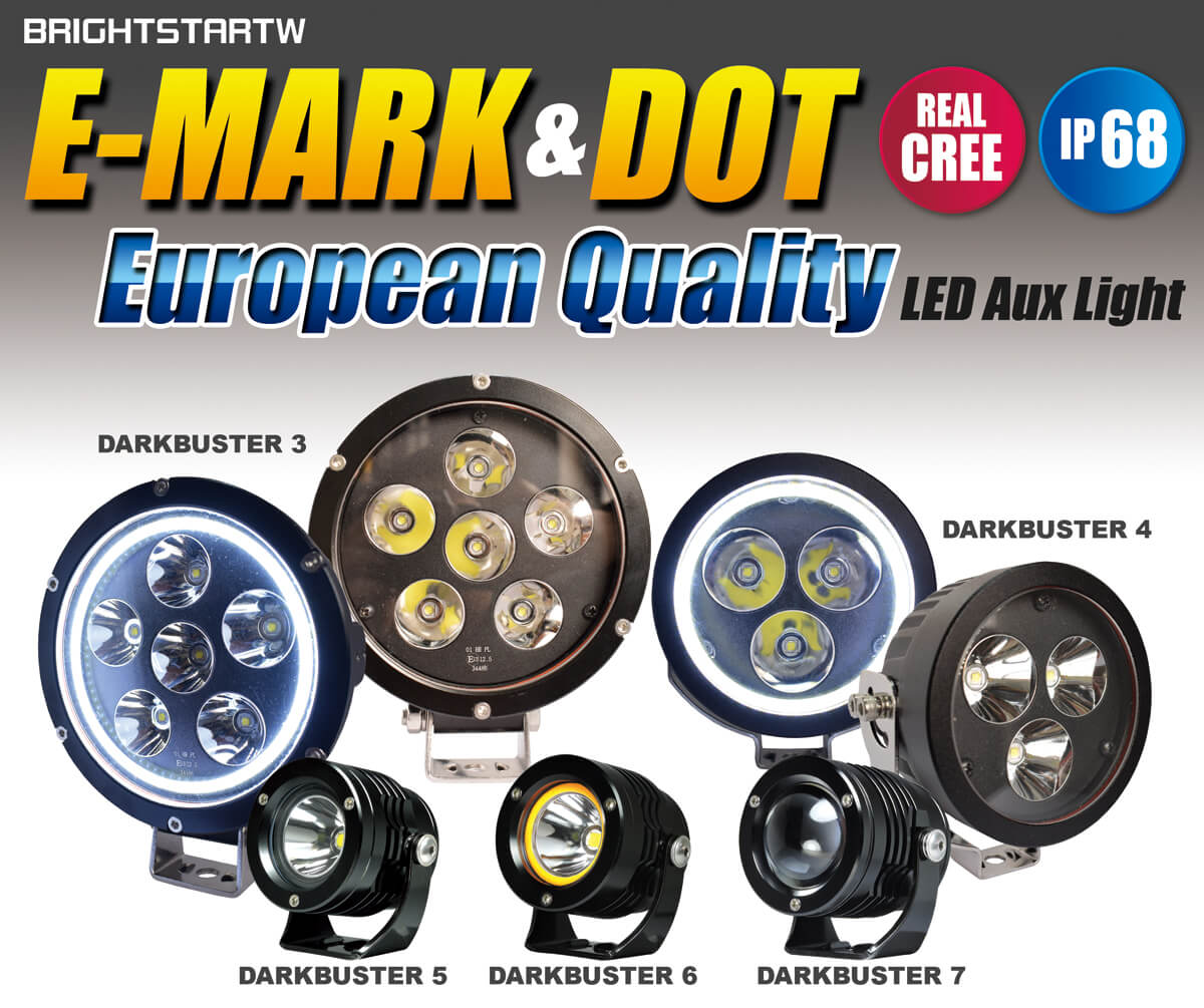 European Quality LED Aux Light round yellow fog lights