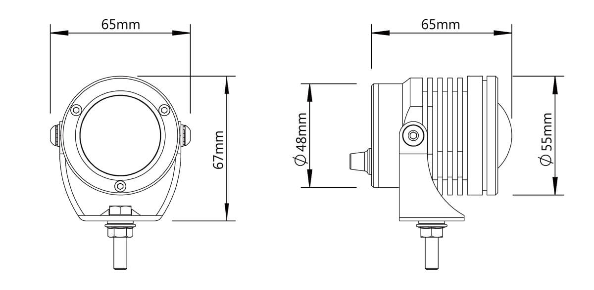 Size for led auxiliary lights DB7